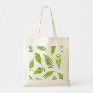 Fern green leaf silhouette pattern tote bag
