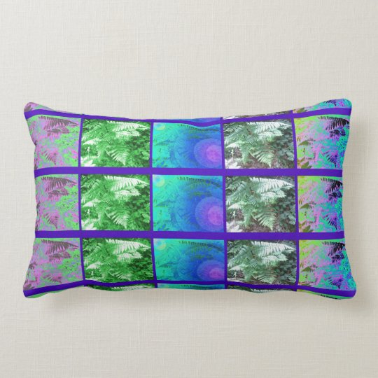 Fern Leaf Art Photo Strip Blue/Green Lumbar Pillow