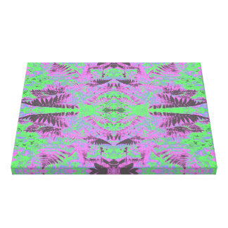 Fern Leaf Fractal Mauve / Green Canvas Print