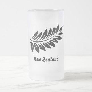 Fern leaf frosted glass beer mug