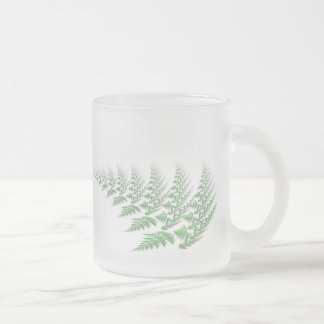 fern leaf frosted glass coffee mug