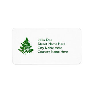 Fern leaf personalized address label