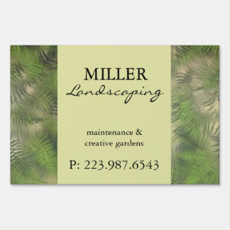 Fern Leaf Nature Outdoors Pattern Green Sign