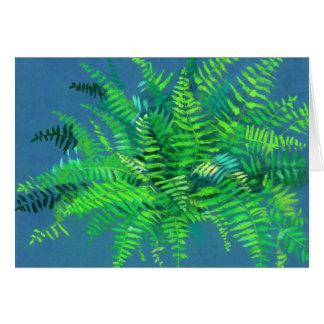 Fern leaves, floral design, greenery, blue & green card