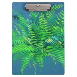 Fern leaves, floral design, greenery, blue & green clipboard
