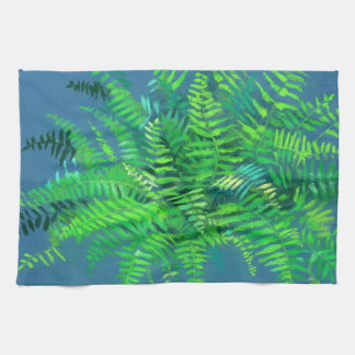 Fern leaves, floral design, greenery, blue & green kitchen towel