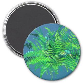 Fern leaves, floral design, greenery, blue & green magnet