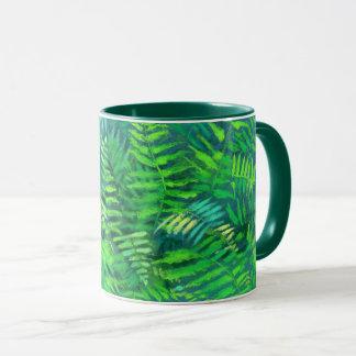 Fern leaves, floral design, greenery, blue & green mug