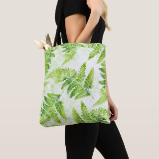 Fern Leaves Green and White Watercolor Botanical Tote Bag