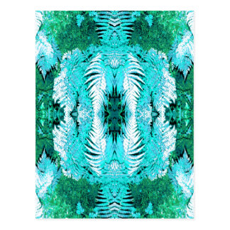 Fern Pattern in Turquoise and Green. Postcard