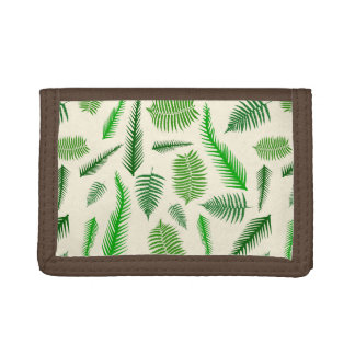 Fern Plant Frond Leaves Pattern Trifold Wallets