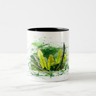 Fern, sheets, jungle, plants, nature Two-Tone coffee mug