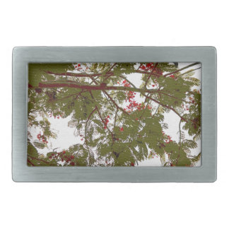 Fern Tree Red Flowers and Brown Branches Canvas Rectangular Belt Buckles