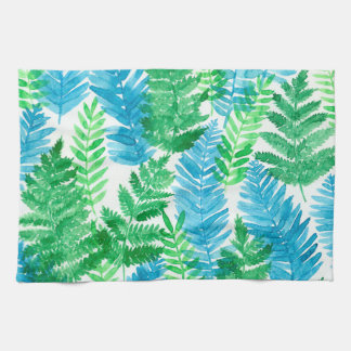 Fern watercolor kitchen towel