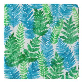Fern watercolor trivet