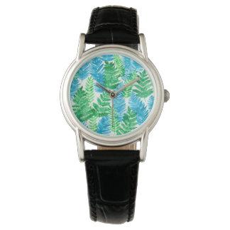 Fern watercolor watch