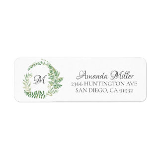 Fern Wreath Monogram Floral Return address