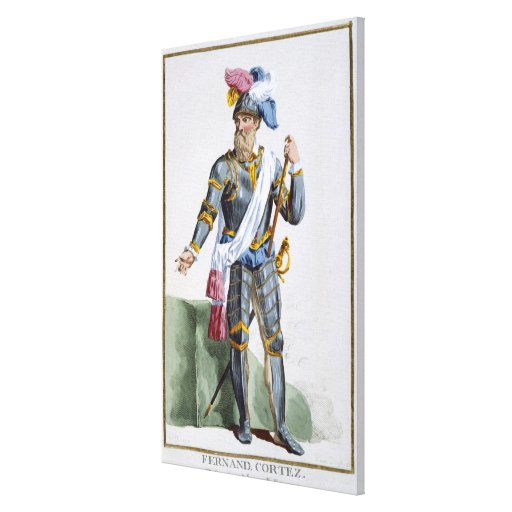Fernand Cortez (1485-1547), engraved by Pierre Duf Stretched Canvas Print