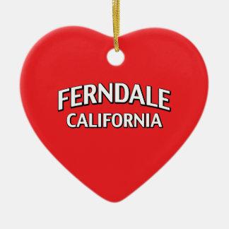 Ferndale California Ceramic Heart Ornament