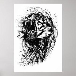 Ferocious Tiger Illustration Poster