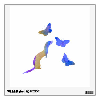 Ferret and butterflys wall decal