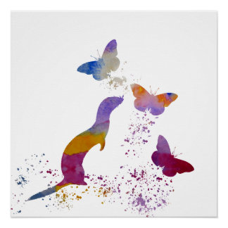 Ferret and buttterflies poster