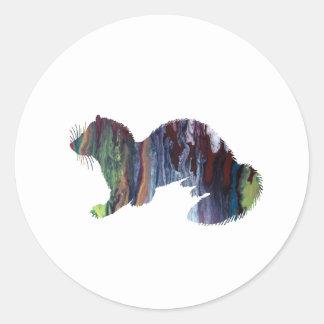 Ferret art classic round sticker