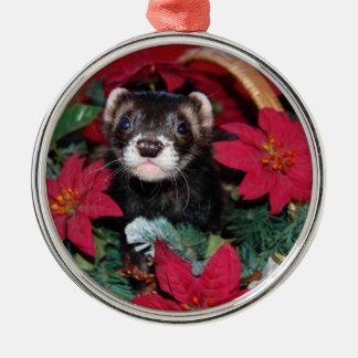 Ferret Christmas Oranment Metal Ornament