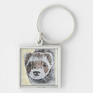 Ferret Cute Picture Silver-Colored Square Keychain