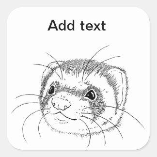 Ferret face square sticker