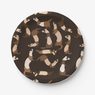 Ferret in dark brown paper plate