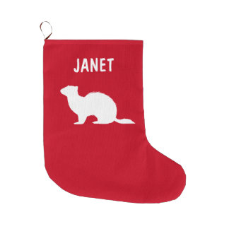Ferret in Silhouette Name Customizable Large Christmas Stocking