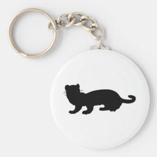 Ferret-outlined; black basic round button keychain