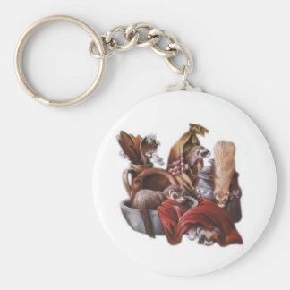ferret play basic round button keychain