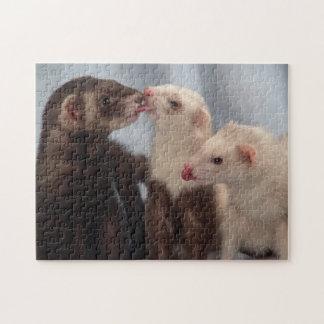 Ferret Puzzle - Three Ferret Friends Love