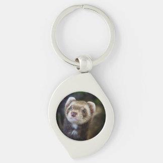 Ferret Silver-Colored Swirl Keychain