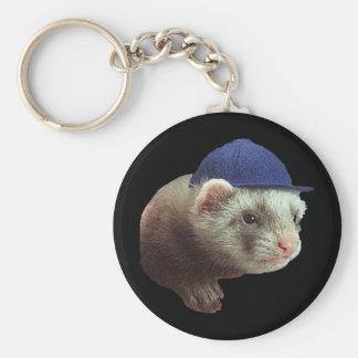 Ferret Wearing Hat Basic Round Button Keychain
