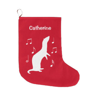 Ferret with Music Notes Name Customizable Large Christmas Stocking