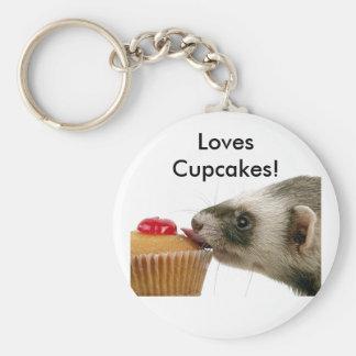Ferrets Love Cupcakes Basic Round Button Keychain
