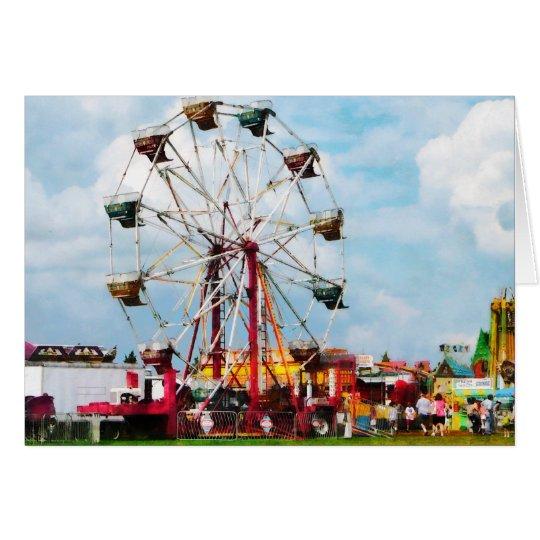 Ferris Wheel Against Blue Sky Card