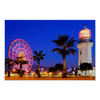 Ferris wheel and lighthouse poster