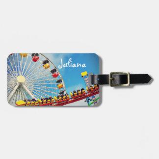 Ferris wheel and roller coaster photo custom name luggage tag