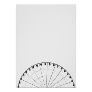 Ferris Wheel Black & White Minimalist Poster