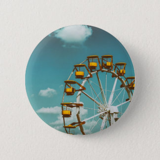 Ferris Wheel In Fun Park On Blue Sky 2 Inch Round Button