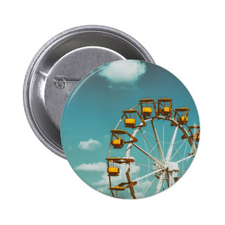 Ferris Wheel In Fun Park On Blue Sky 2 Inch Round Button