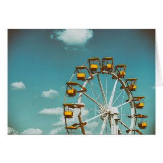 Ferris Wheel In Fun Park On Blue Sky Card