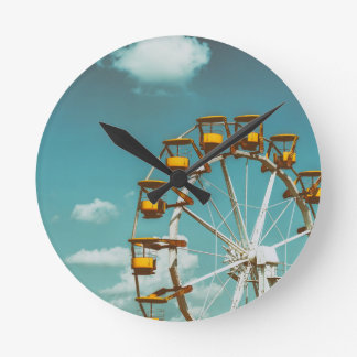 Ferris Wheel In Fun Park On Blue Sky Round Clock