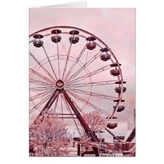 Ferris Wheel In Pink Greeting Birthday Card