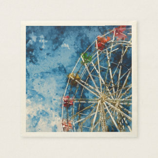 Ferris Wheel in Santa Cruz California Disposable Napkins