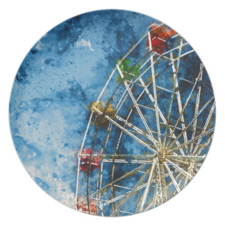 Ferris Wheel in Santa Cruz California Plate